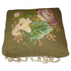 Early Needlepoint Beaded Pin Cushion