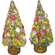 Vintage Bottle Brush Christmas Trees with Fruit & Glitter