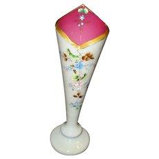 Hand Decorated Victorian Bristol Glass Vase