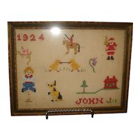Early Counted Cross Stitch Sampler w/ Santa 1924