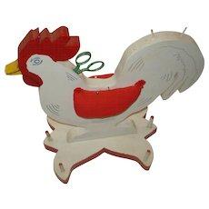 Vintage Wooden Folk Art Rooster Thread Holder