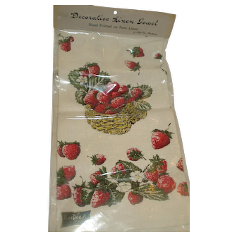 Kay Dee Hand Printed Linen Strawberry Towel