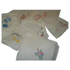 Group of 7 Vintage White Hankies