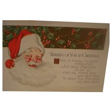 Vintage Christmas Postcard with Santa