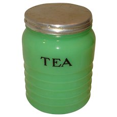 Jeannette Jadite Glass Tea Canister