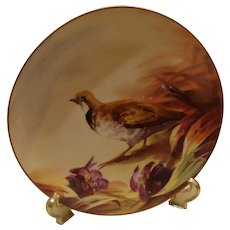 Hand Painted Signed Limoges Porcelain Charger with Bird