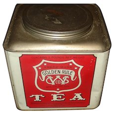 Large Advertising tin Golden Rule Tea
