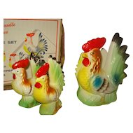 Rooster Salt Pepper Napkin Holder Original Box