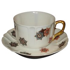 Limoges Porcelain Cup & Saucer Shreve Co.  California