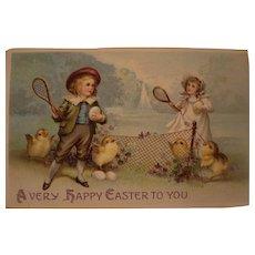 Easter Postcard Children & Chicks