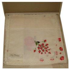 Vintage Hankies Handkerchiefs Lady Heritage - in Original Box with tags