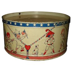 Vintage Child's Tin Litho Drum Patriotic