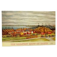 """Vintage Circus Postcard """"The Greatest Show on Earth"""""""