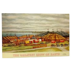 "Vintage Circus Postcard ""The Greatest Show on Earth"""