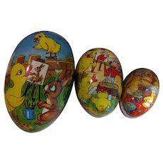 Set of 3 Vintage Paper Mache Easter Eggs