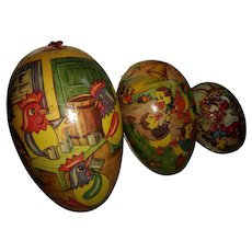 Group of 3 Vintage Paper Mache Nesting Easter eggs