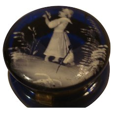 Mary Gregory Cobalt Blue Glass Patch Box
