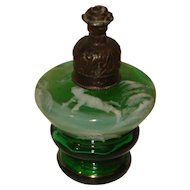 Mary Gregory Green Glass Perfume