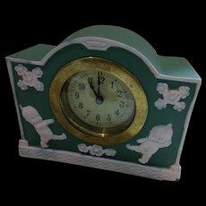 Rose O'Neill Kewpie Green Jasperware Clock