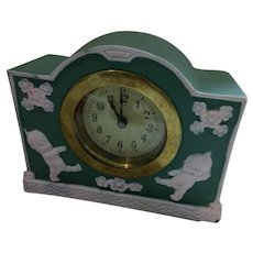 Rose O'Neill Kewpie Green Jasperware Clock