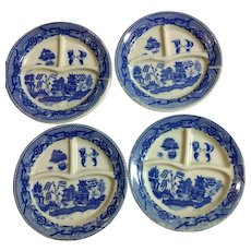 Children's Dishes Blue Willow pattern, Grill Plates