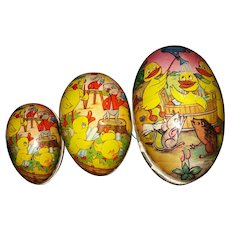 Set of 3 Vintage Paper Mache Easter Eggs