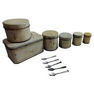 Vintage Child's 6 piece Metal Toy Canister set