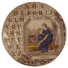 Brown Transferware ABC plate - Nursery Tales - Cinderella