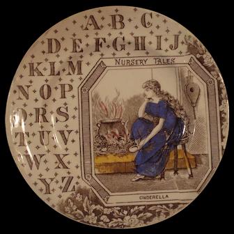 Brown Transferware ABC plate - Nursery Tales - Cinderella