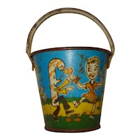 Vintage Child's Sand Pail U S Metal Toy Candy People Band