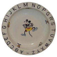 Vintage Mickey Mouse Child's alphabet Dish Pre-WW2 Bavaria