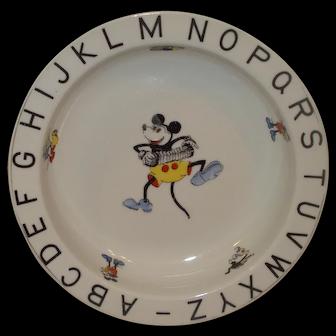 Vintage Mickey Mouse Child's alphabet Dish Pre-WW2 Bavaria