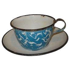 Blue & White Swirl Graniteware Enamelware cup & saucer