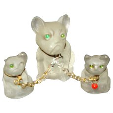 Set of 3 Vintage Frosted Glass French Bulldogs Glass Perfume Dangle/ Charm Czechoslovakia