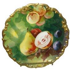 Large Limoges Porcelain plate with Fruit