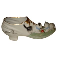 German Porcelain Shoe with Figural Cat & Mouse