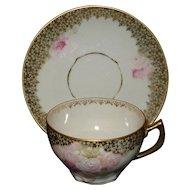 Thuringia Erdmann Schlegelmilch Hand Painted Porcelain Cup & Saucer