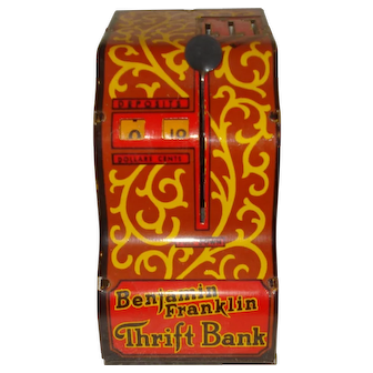 Louis Marx Tin Bank Benjamin Franklin Thrift Bank
