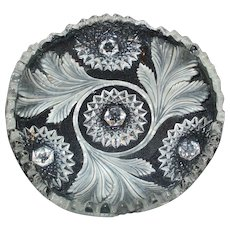 Millersburg Glass Frosted Hobstar Feather Whimsey Bowl EAPG