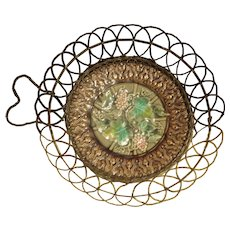 Majolica Plate with Attached Wire Basket