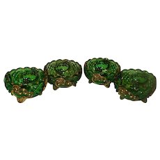 Set of 4 Emerald Green Croesus Berry Dishes EAPG