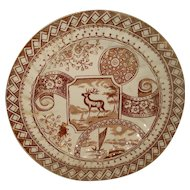 Early Transferware Stag  Plate England