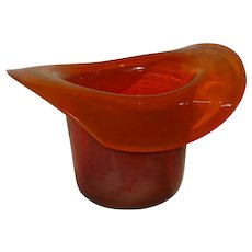 Orange Glass Whimsey Blown Hat
