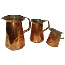 Set of 3  Vintage Copper Measure Pitchers