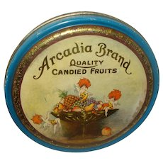 Vintage Arcadia Candied Fruit Tin