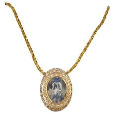 Vintage Nolan Miller Faux Blue Topaz Necklace in Original Box