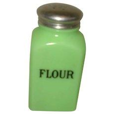 Jadite Square Glass Flour Shaker Jeannette