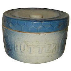 Blue & White Stoneware Butter Crock