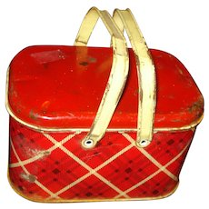 Vintage Metal Plaid Lunch Pail