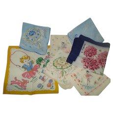 Group of 7  Vintage Hankies Handkerchiefs